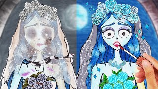 ASMR Emily Corpse Makeup for the Bride! The Most Beautiful Bride 👰 Corpse Bride-STOPMOTION PAPER