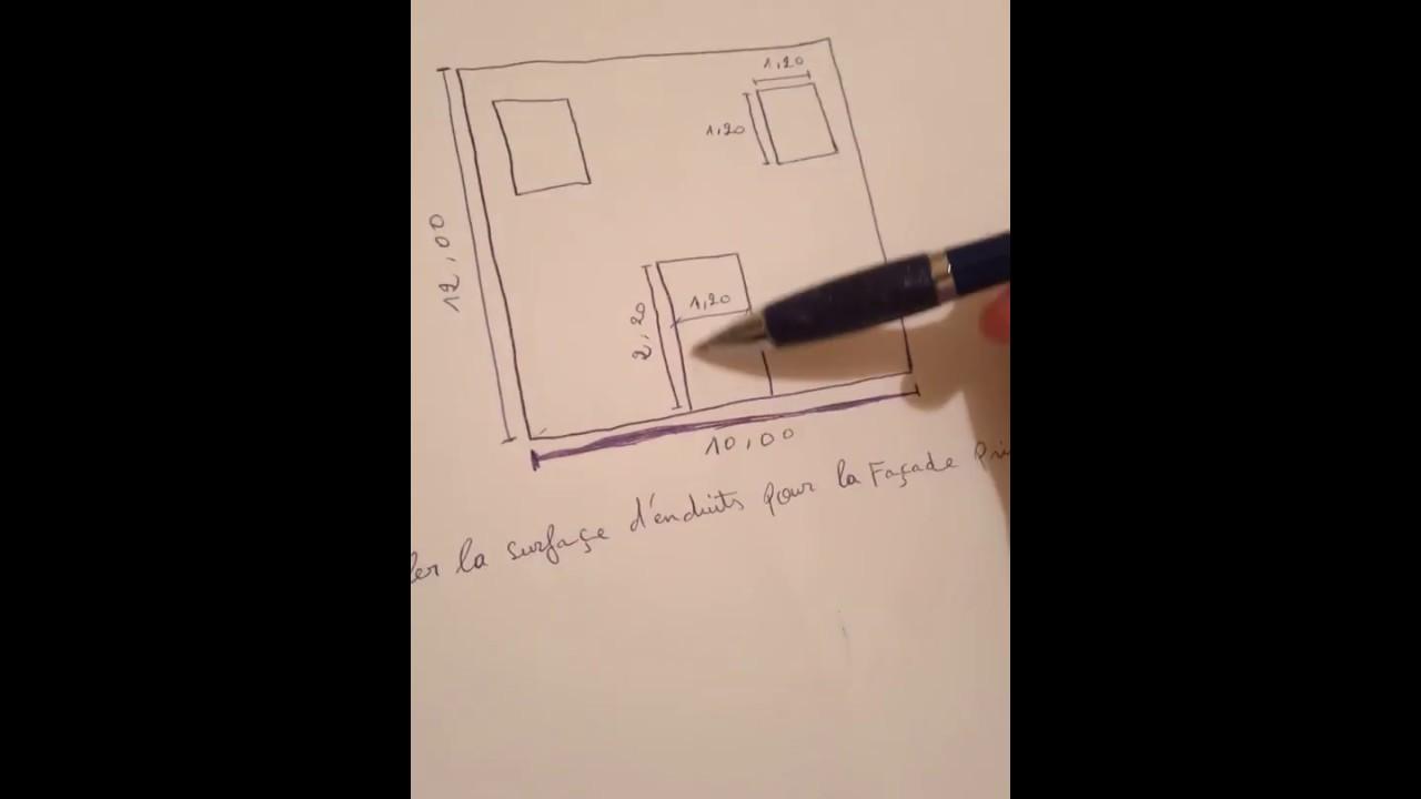 Métré calcul surface d'enduit (mortier) exemple bâtiment .
