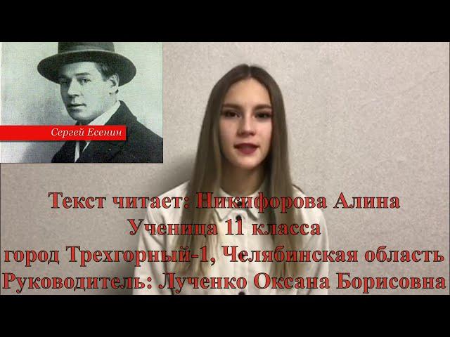 Изображение предпросмотра прочтения – АлинаНикифорова читает произведение «Письмо к женщине» С.А.Есенина