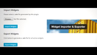 WordPress Widget Importer Exporter Plugin