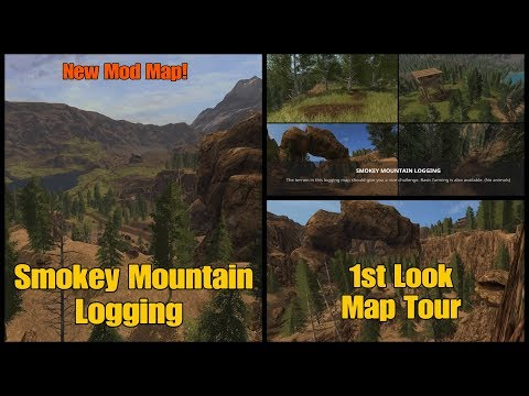 Let's Play Farming Simulator 17 PS4: Smokey Mountain Logging, 1st Look Map Tour.