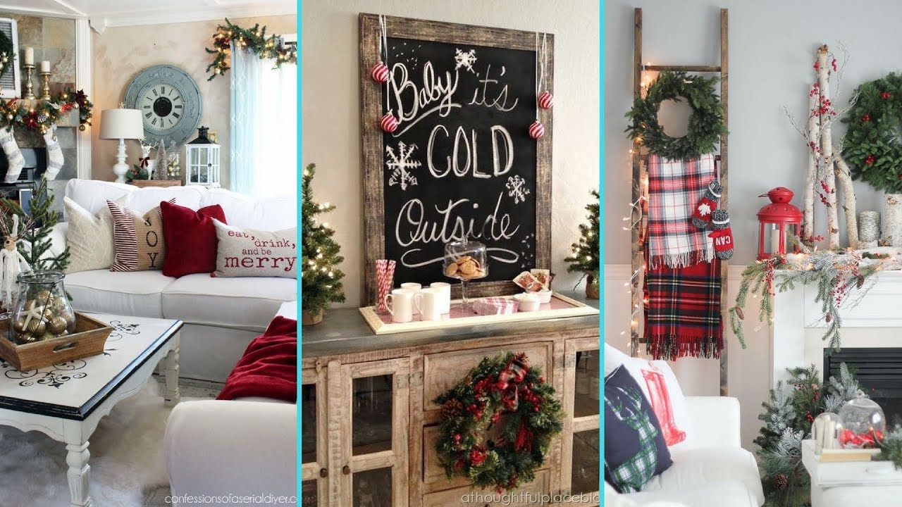 DIY Rustic Shabby chic style Christmas Living Room decor