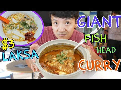 AMAZING $3 Laksa In Singapore & GIANT Curry Fish Head -Reupload