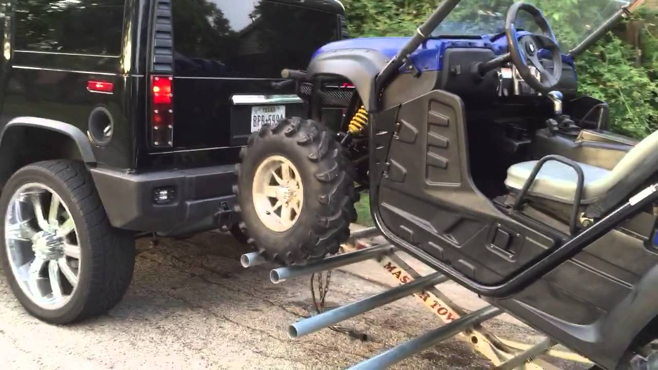 Side By Side Atv On A Tow Dolly Trailer Rhino Rzr Youtube
