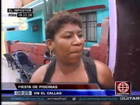 América Noticias: 16.02.14 -Así se viven las fiestas de piscinas en las calles del Callao