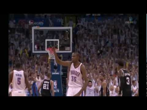 Kevin Durant 34 points full higlights OKC beat Spurs in GM6 WFC NBA Playoffs 2012.06.06