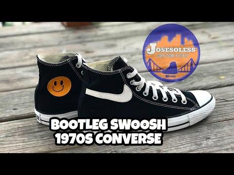 "CUSTOM SWOOSH CONVERSE ""CHINATOWN MARKET/ BOOTLEG FOR LEBRON"""