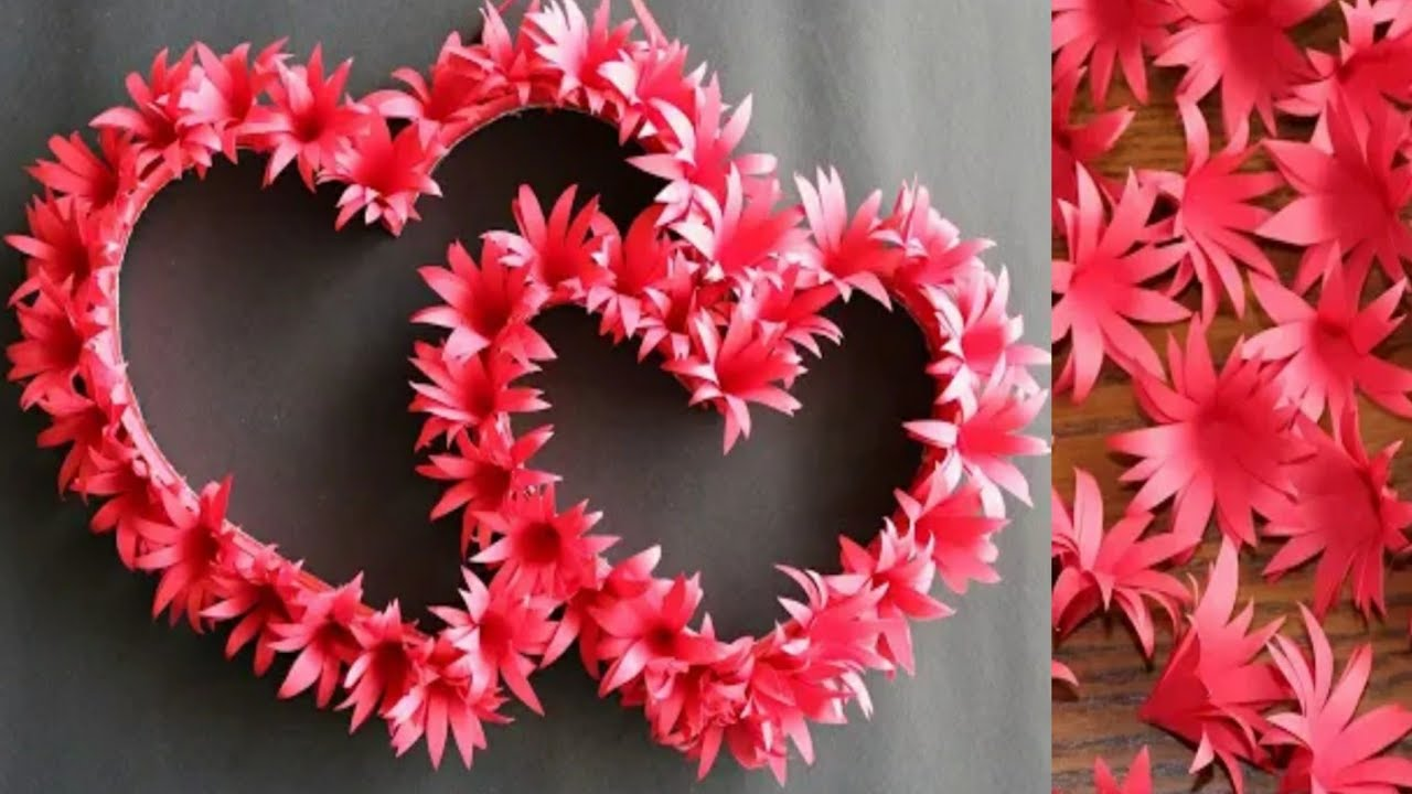 Easy Paper Heart Wall Decoration Birthday And Anniversary Room Decoration Ideas Wall Hanging Youtube
