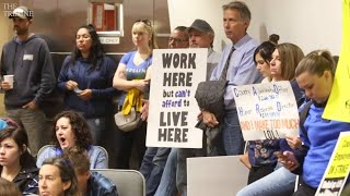 San Luis Obispo County employees speak to the board as strike starts