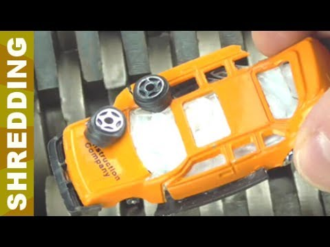 Shredding Crushed by Hydraulic Press Metal Toy Cars