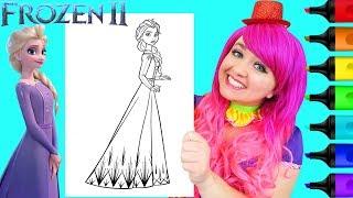 Coloring Elsa Frozen 2 Disney Coloring Page Prismacolor Paint Markers | KiMMi THE CLOWN