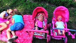 Day Routine Funny kids and baby born dolls