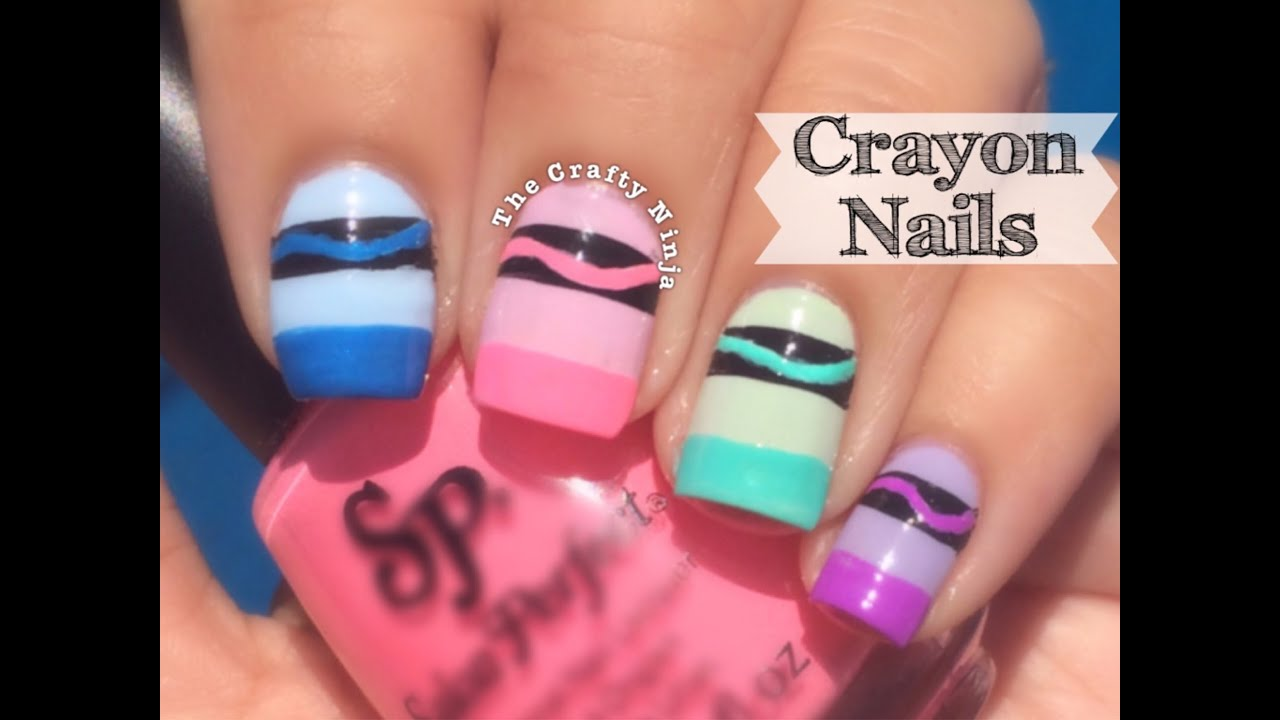 Crayon Nail Art by The Crafty Ninja - YouTube