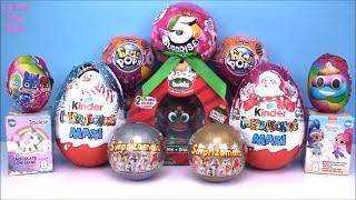Kinder Maxi Christmas Chocolate Surprise Eggs PJ MASKS 5 Pikmi POPS Surprizamals Holiday Edition TOY