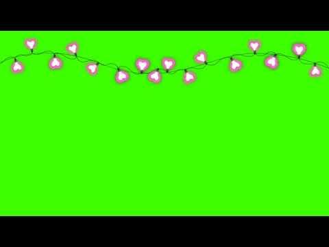 Футаж гирлянда сердца на зелёном фоне