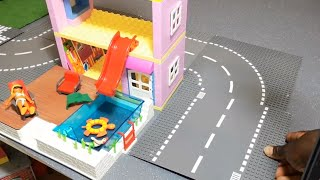 Build DollHouse Swimming pool & House Villa Using Lego Duplo Toys For Kids, School Bus For Children