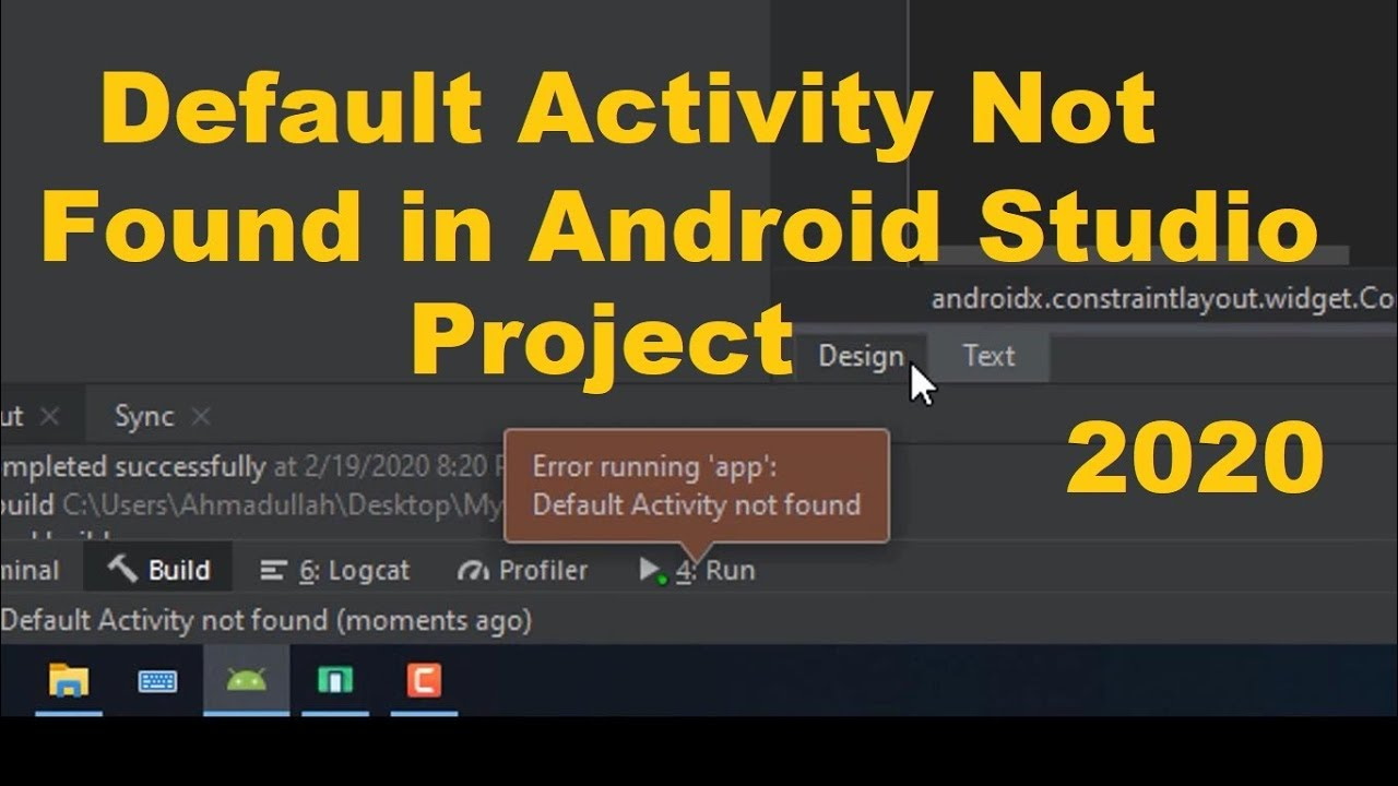 Default Activity Not Found In Android Studio Project Error How To Fix Youtube