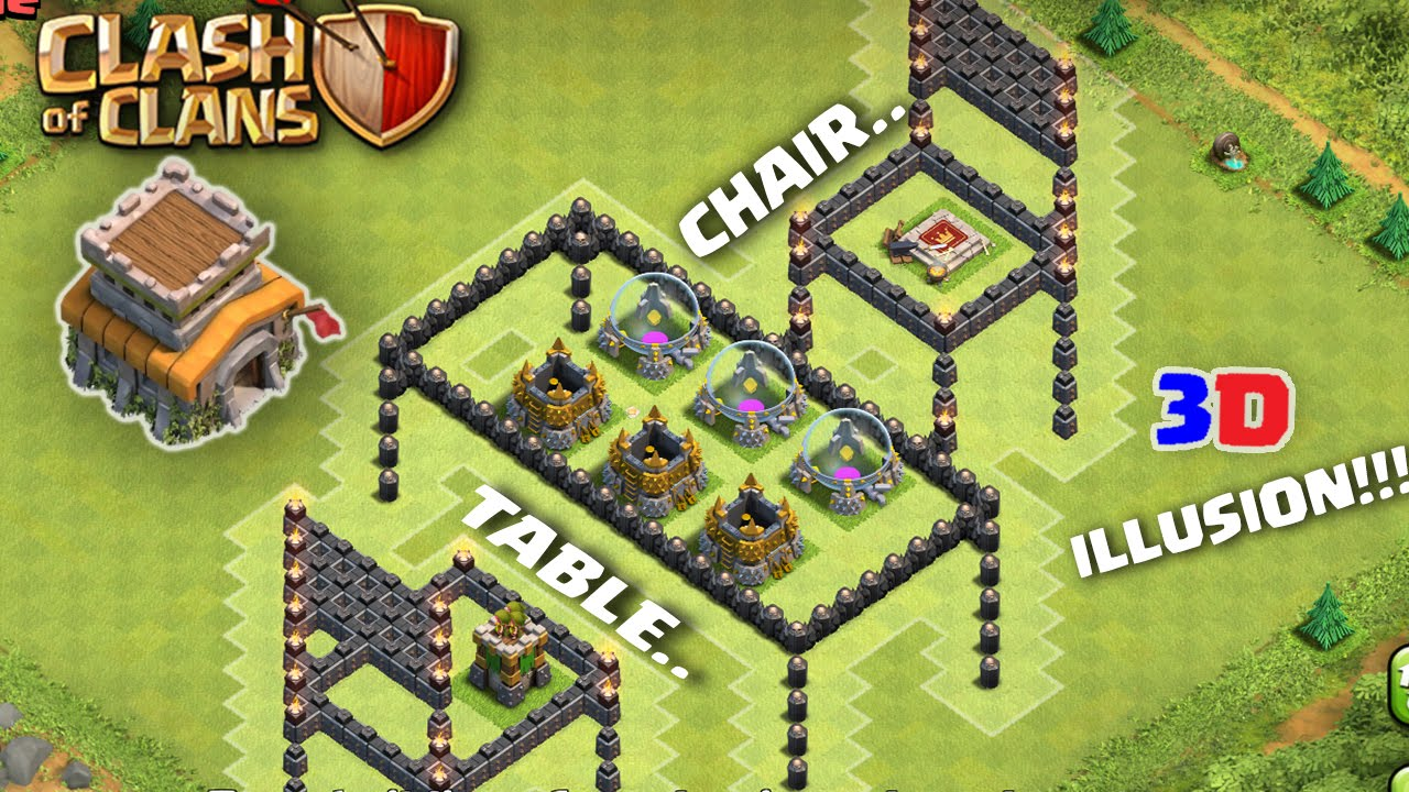 Clash Of Clans Unique Th D Optical Illusion Base Table And Chairs Youtube