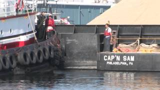 Tugboat and Sand Barge Operations in New Bedford