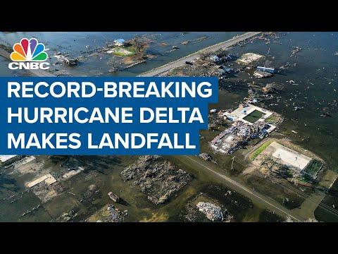 Record-breaking Hurricane Delta makes landfall in Louisiana