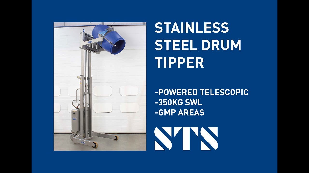 Telescopic Stainless Steel Electric Drum Tilter | STE02-DRU01-SS-WET