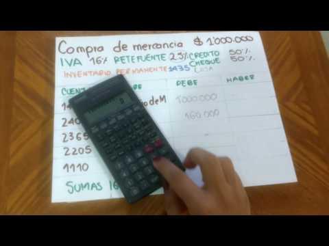 Compra de mercancía a crédito  y de contado con IVA y RETEFUENTE