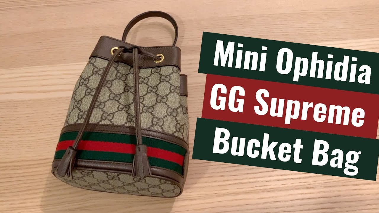 3692ff7d2986 Gucci Mini Ophidia GG Supreme Bucket Bag - YouTube