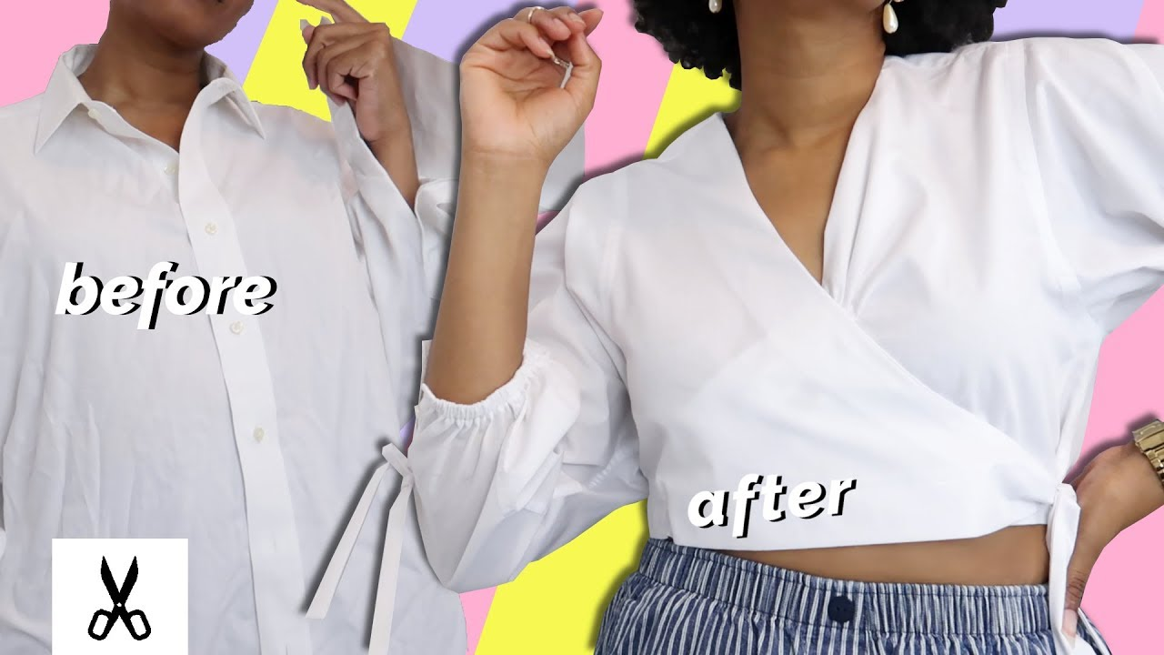 [VIDEO] - DIY Cropped Blouse | Summer Thrift Flip Men's Shirt Upcycle 6