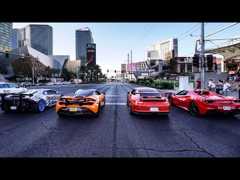 WORLD'S GREATEST DRAG RACE! EXOTIC RENTAL CARS LAUNCH DOWN LAS VEGAS BLVD! *LAMBORGHINI NEAR CRASH*