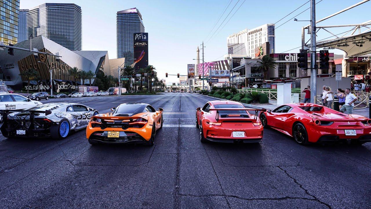 World S Greatest Drag Race Exotic Rental Cars Launch Down Las Vegas Blvd Lamborghini Near Crash