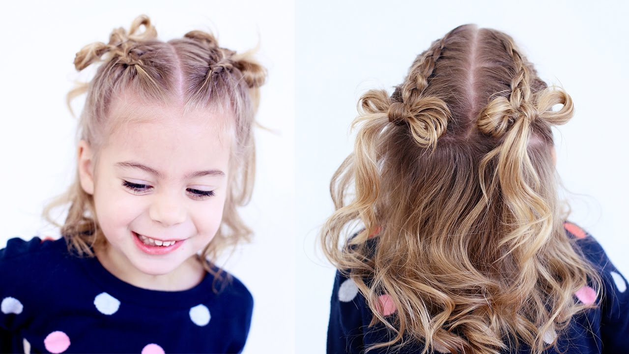 cute hair styles for mixed girls braid hair bows cutegirlshairstyles 1004 | maxresdefault