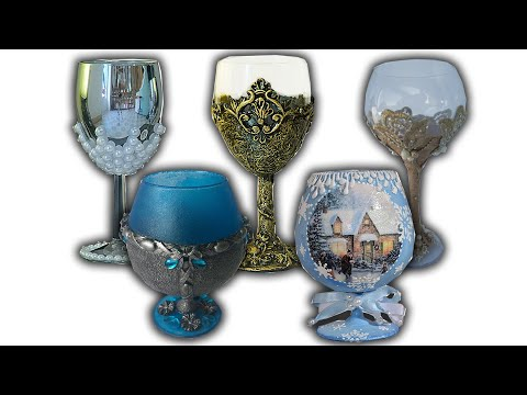 TOP 5 IDEAS FOR DECOUPAGE GLASS / DIY / CANDLE HOLDERS