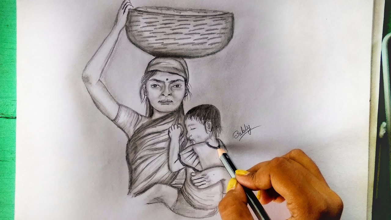Mother S Day Drawing With Pencil Sketch Working Mother Heart Touching Bably S Passion Youtube
