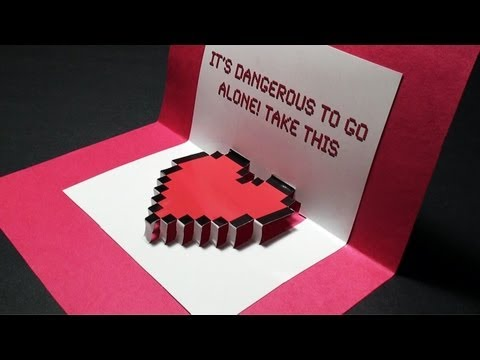 Zelda Pop Up Valentine S Day Heart Card Free Template Sunderorigami