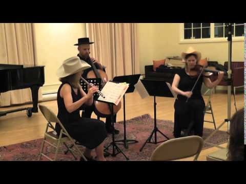 """Tombstone"" for flute, viola and cello, by Michael Close (also the cellist in this trio) - a fun spaghetti western style piece!"