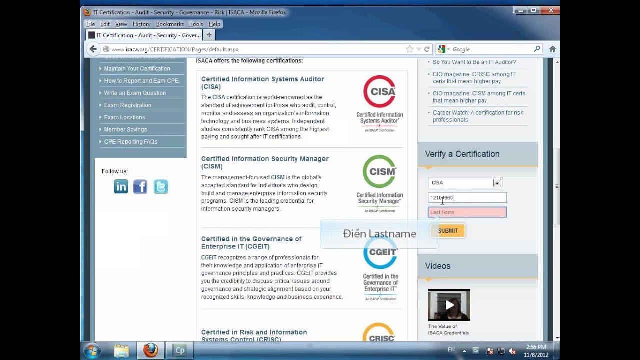 Verify Cisa Certification Youtube