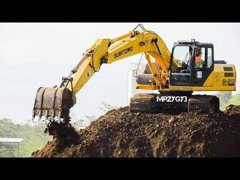 Excavator Stockpiling Dirt Sumitomo SH210