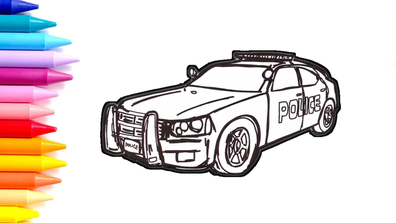 Police Car Coloring Pages How To Draw A Police Car Drawing For Kids Youtube