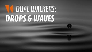 Dual walkers: drops and waves