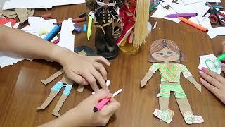 Kağıttan Bebek DIY Çiz Boya Kes Giydir Kombin Challenge DIY Paper Dolls Clothes BidünyaOyuncak🦄