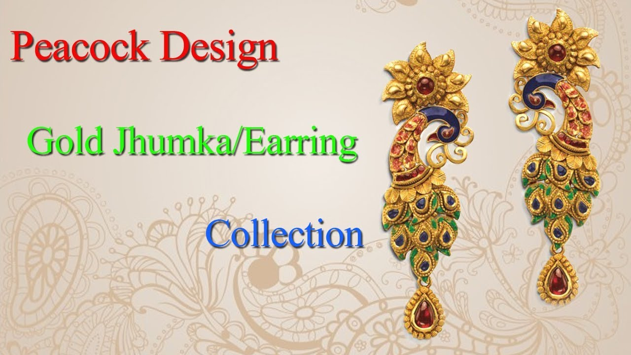 Peacock Design Gold Jhumka/Earring Collection - YouTube