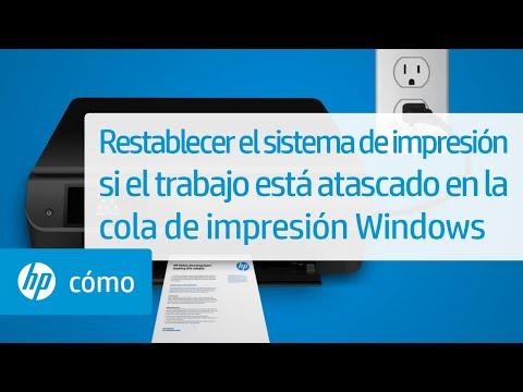 Restablecer el sistema de impresión si el trabajo está atascado en la cola de impresión Windows | HP