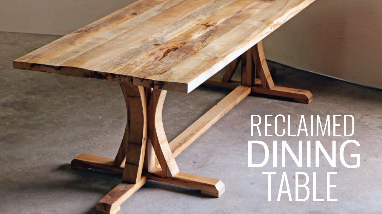 Diy create a rustic farmhouse dining table youtube for Diy dining table