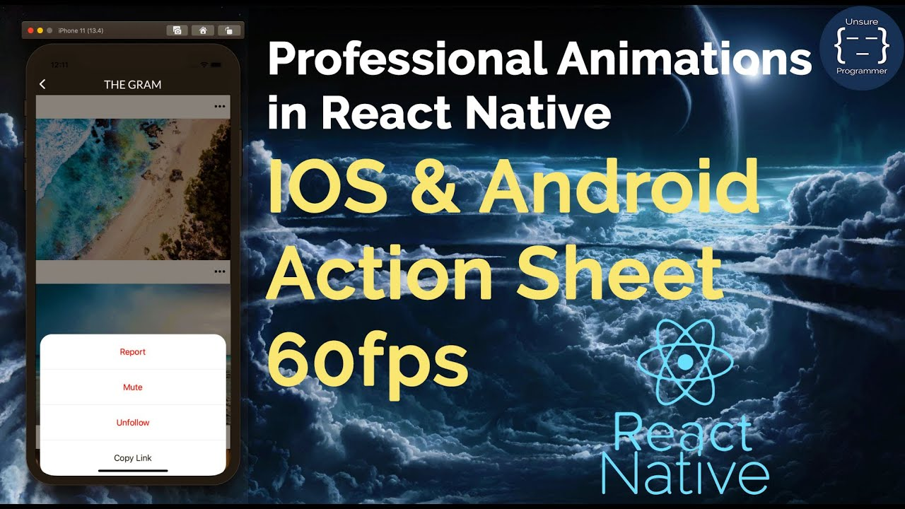 Action Sheet - Professional Animations in React Native | Reanimated | GestureHandler