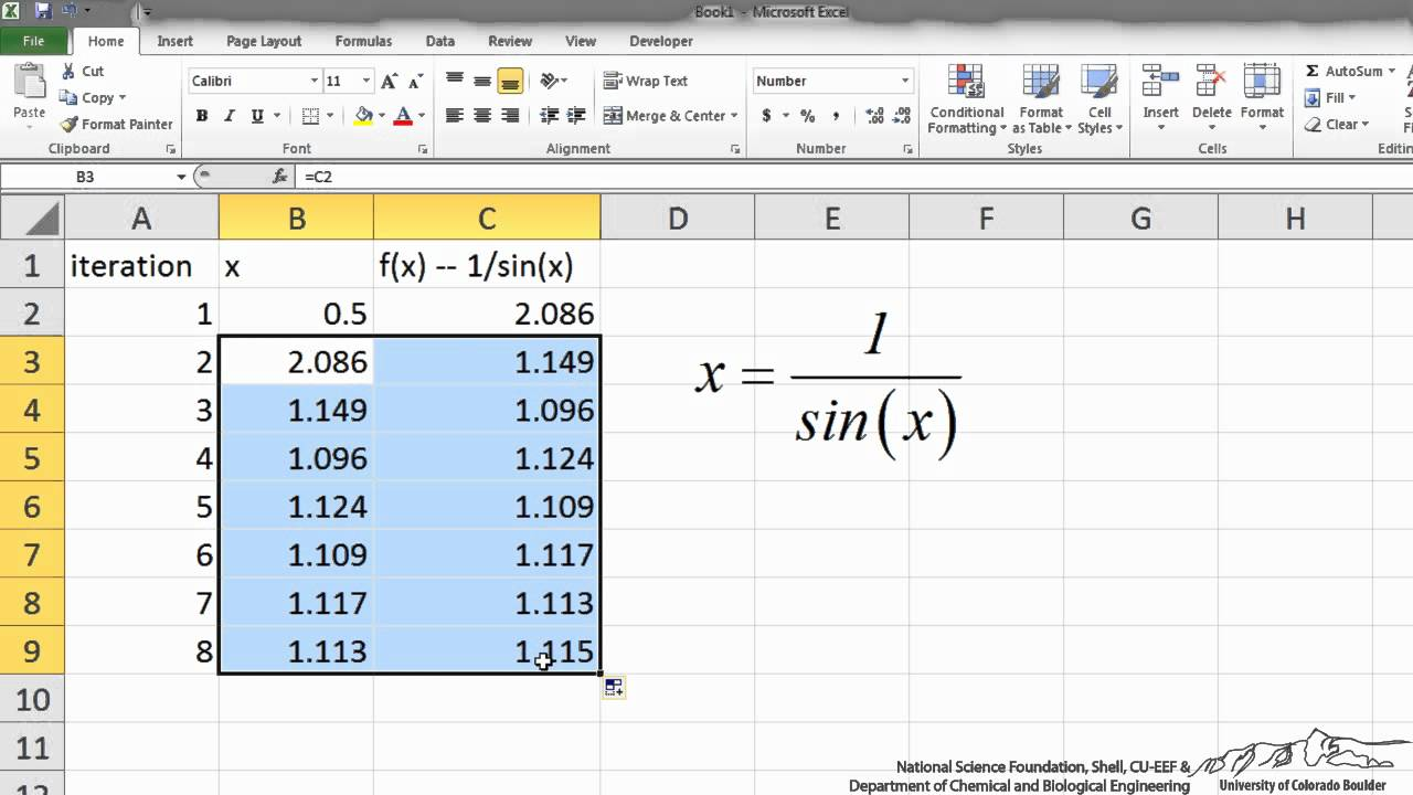 Iterative Solutions/Excel