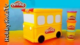 PLAY DOH Wheels on the Bus Storage Box Toy Review for Kids HobbyKidsTV