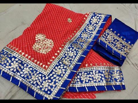 Beautiful Georgette 60 Gm Sarees With Bandhani Print U0026 Heavy Hand Gota Patti Work (2020)