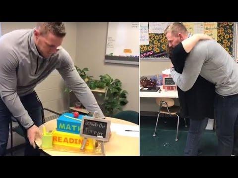 NFL Player J.J. Watt Surprises Retiring 4th Grade Teacher In Classroom