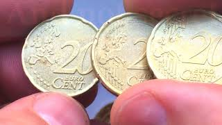 20 cent Austria Belgium Greece Ireland Italy Lithuania 2002 2004 2007 2009 2015 2016 2017 Euro Coin