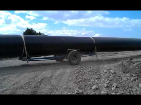 Transport of large bore long length PE pipe